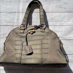 YVES SAINT LAURENT Crocodile Embossed Muse Bag